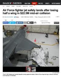 ニュース画像 1枚目:右翼の約半分を失ったF-16の画像