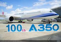 ニュース画像 1枚目:100機目となったチャイナエアラインのA350-900