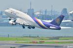 吉田高士さんが、羽田空港で撮影したタイ国際航空 747-4D7の航空フォト(写真)