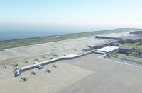 ニュース画像 2枚目:南東側から見た新ターミナルのイメージ。東側(手前)を国内線、西側(奥)を国際線で使用。