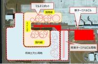 ニュース画像 5枚目:拡張性確保のため、将来エプロン用地が確保されているほか、コンコース棟を延伸して固定スポットを増設できるように設計。