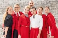 ニュース画像:オーストリア航空、赤ベースの客室、地上スタッフの新制服 2016年から