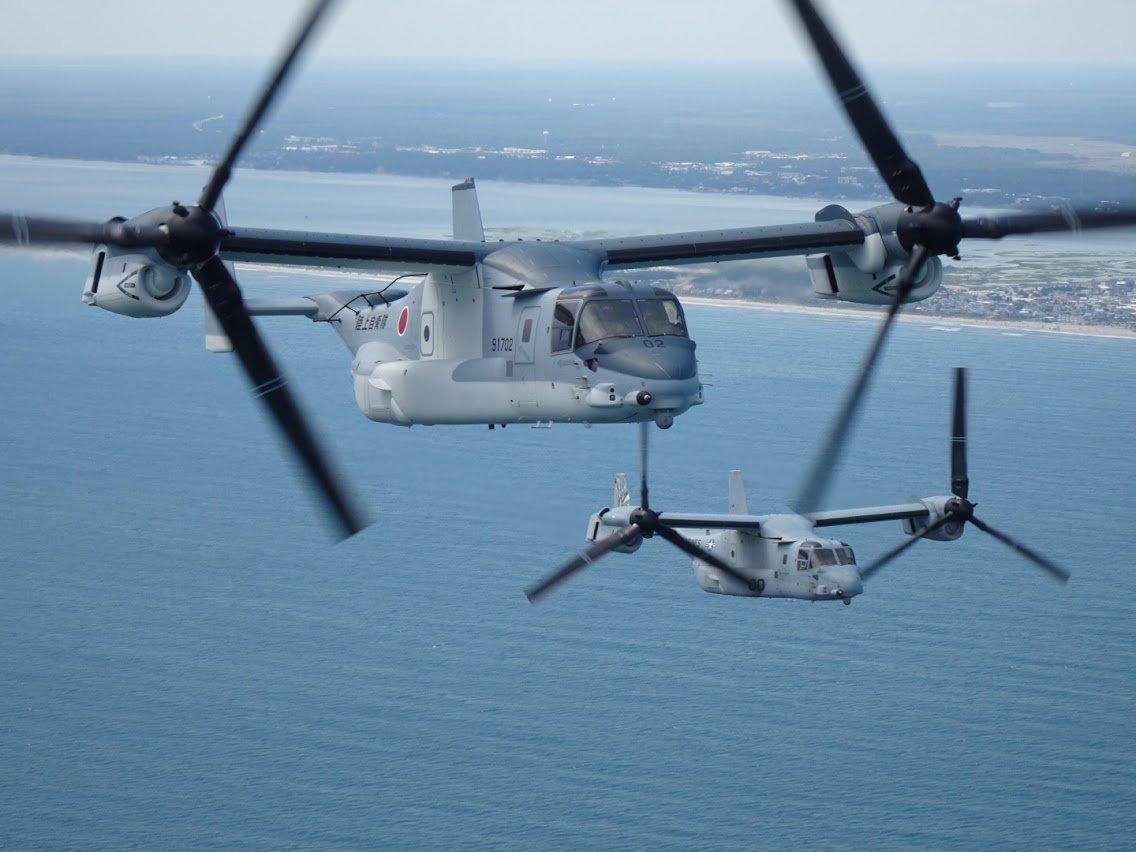 ニュース画像 1枚目:陸自MV-22オスプレイの編隊飛行