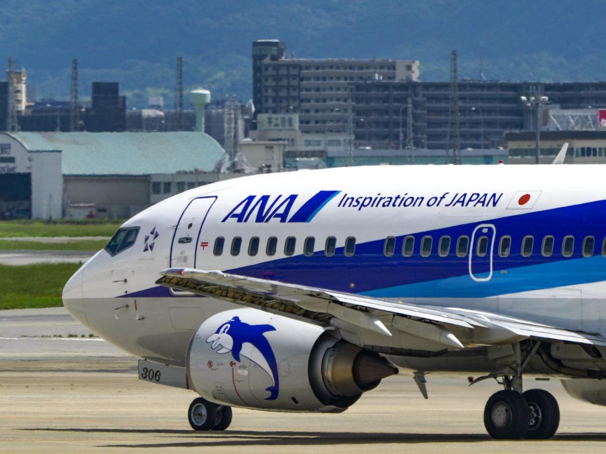 ニュース画像 1枚目:福岡空港を出発するANAの737-500「スーパードルフィン」