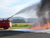 ニュース画像:芦屋基地、9月26日早朝に航空機救難消火訓練