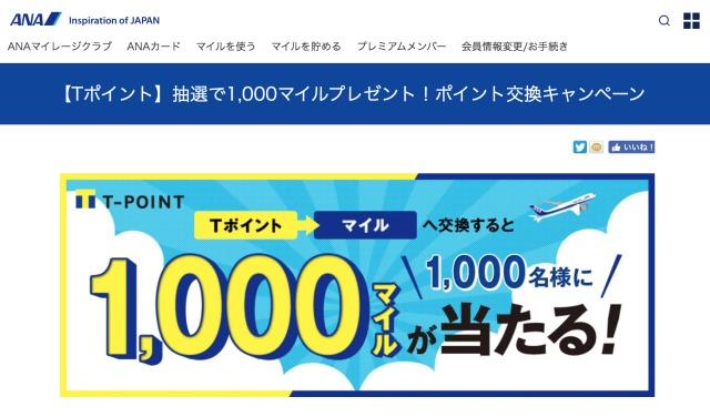 ニュース画像 1枚目:Tポイント 抽選で1,000マイルプレゼント