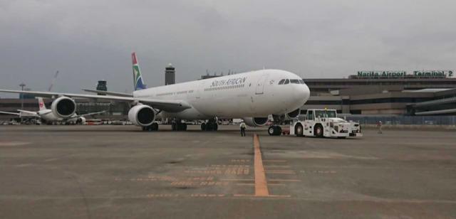 ニュース画像 1枚目:成田に初飛来した南アフリカ航空のA340-600