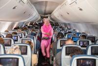 ニュース画像:デルタ航空、国内線機内にピンクマン登場 乳がん研究基金へ募金呼びかけ