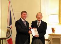 ニュース画像:JALの稲盛和夫名誉顧問、イギリスから名誉大英勲章KBEを受章