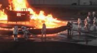 ニュース画像:海自徳島教育航空群、板野東部消防組合と共同で消火訓練