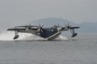 ニュース画像:離水に失敗したUS-2が水没、引き上げを再検討 イベント展示は中止