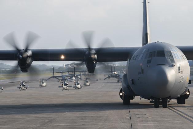 ニュース画像 1枚目:ACE演習で展開するダイエス基地所属のC-130J