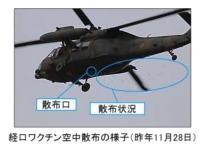 陸自UH-60JAヘリ、野生イノシシへの経口ワクチンの空中散布を実施の画像