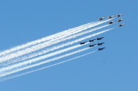 ニュース画像 2枚目:上空を展示したブルーエンジェルズとサンダーバーズ
