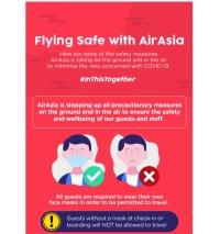 ニュース画像:エアアジアの様々な新型肺炎対策、機内食や手荷物に制限も