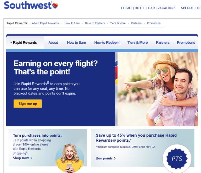 ニュース画像 1枚目:サウスウェスト航空のマイレージプログラム「ラピッド リワーズ」