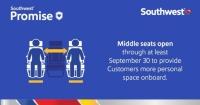 ニュース画像:サウスウェスト、中央座席のブロックを9月末まで継続 感染拡大予防で