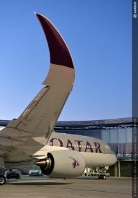 ニュース画像 2枚目:カタール航空のロゴが描かれたA350ウィングレット