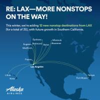アラスカ航空、ロサンゼルス発着の米国内8路線を新たに開設への画像