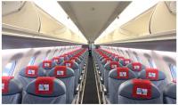 ニュース画像:FDA、ホワイト12号機 座席ヘッドカバーに「朱鷺」と「佐渡金銀山」