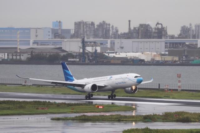 ニュース画像 1枚目:羽田に飛来したガルーダのマスク特別塗装機 (m_aereo_iさん撮影)