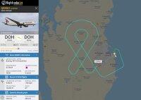 ニュース画像:カタール航空、乳がん啓発月間で特別フライト 空にピンクリボン描く