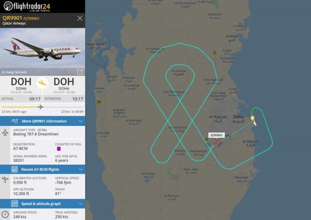 ニュース画像 1枚目:カタール航空が空に描いたピンクリボンマーク