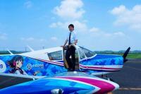 あいち航空ミュージアム、3周年セレモニーでゲスト千葉さんデモフライトの画像