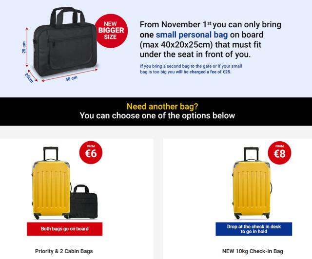 ニュース画像 1枚目:ライアンエア 機内持込手荷物規則