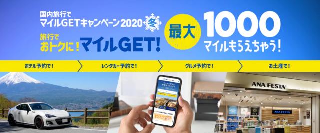 ニュース画像 1枚目:ANA、国内線搭乗者限定 国内旅行でマイルGETキャンペーン2020冬