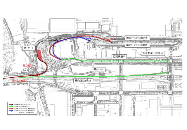ニュース画像 1枚目:成田空港 道路工事個所と迂回経路