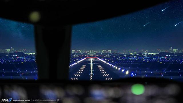 ニュース画像 1枚目:ANAオリジナルバーチャル背景「コックピット_夜景」