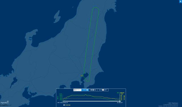ニュース画像 1枚目:引き返したJA345JによるJAL141便の航路