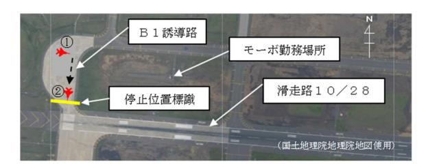 ニュース画像 1枚目:滑走路10付近でのF-2A、モーボなどの位置関係