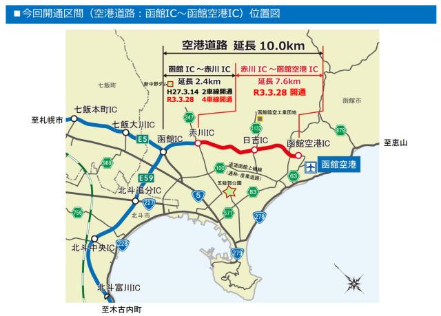 ニュース画像 1枚目:函館新外環状道路、函館空港ICに直結