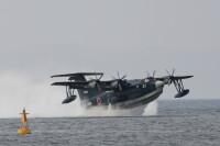 ニュース画像 3枚目:長崎空港と大村飛行場の間の海に設けられたシーレーンから離水するUS-2 (モモさん撮影)