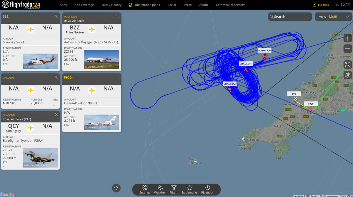 ニュース画像 3枚目:Flightrader24で確認できたタイフーンやボイジャー
