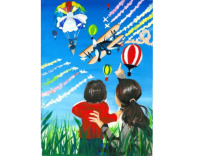 ニュース画像:FAI国際絵画コンテスト、日本の子どもたちの2作品 世界1位