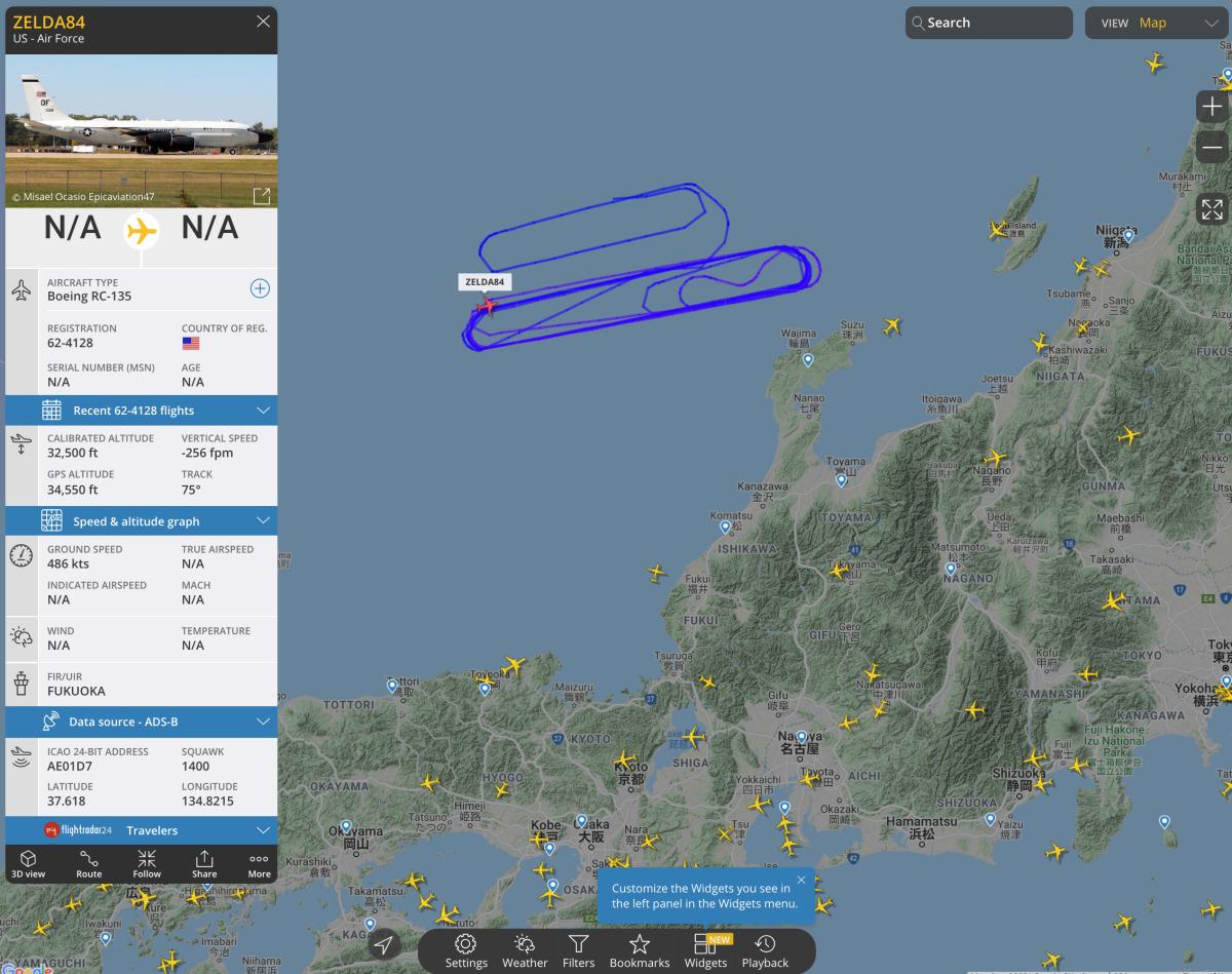 ニュース画像 3枚目:RC-135Sコブラボール「62-4128」の飛行したエリア、Flightrader24から