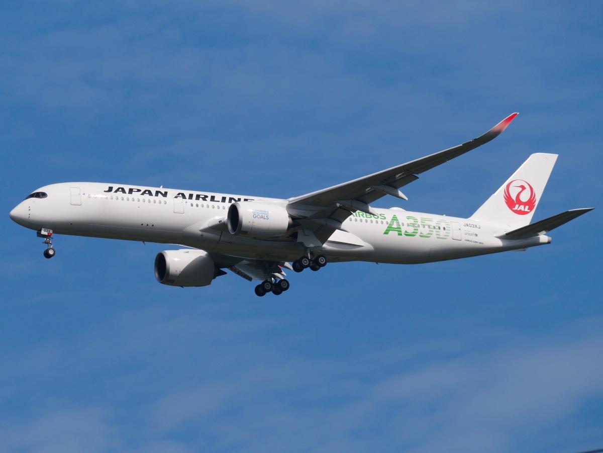 ニュース画像 3枚目:「JA03XJ」は2019年9月に受領。「環境」を示すグリーンでA350を表現 (kentaro0918さん撮影)