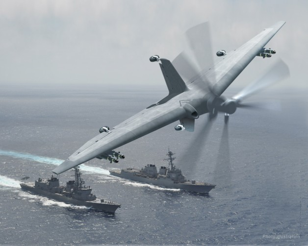ニュース画像 1枚目:DARPAが発表したターンの想像図。海上自衛隊のむらさめ型護衛艦が運用している。
