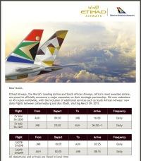 ニュース画像:エティハド航空と南アフリカ航空、提携強化でダブルマイルキャンペーン