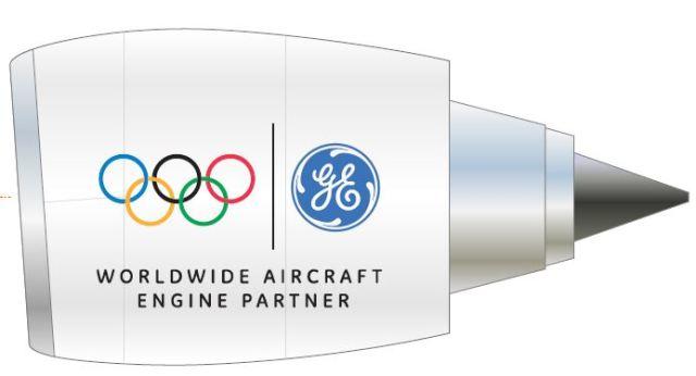 ニュース画像 1枚目:GEのオリンピックロゴを掲出したエンジンのイメージ