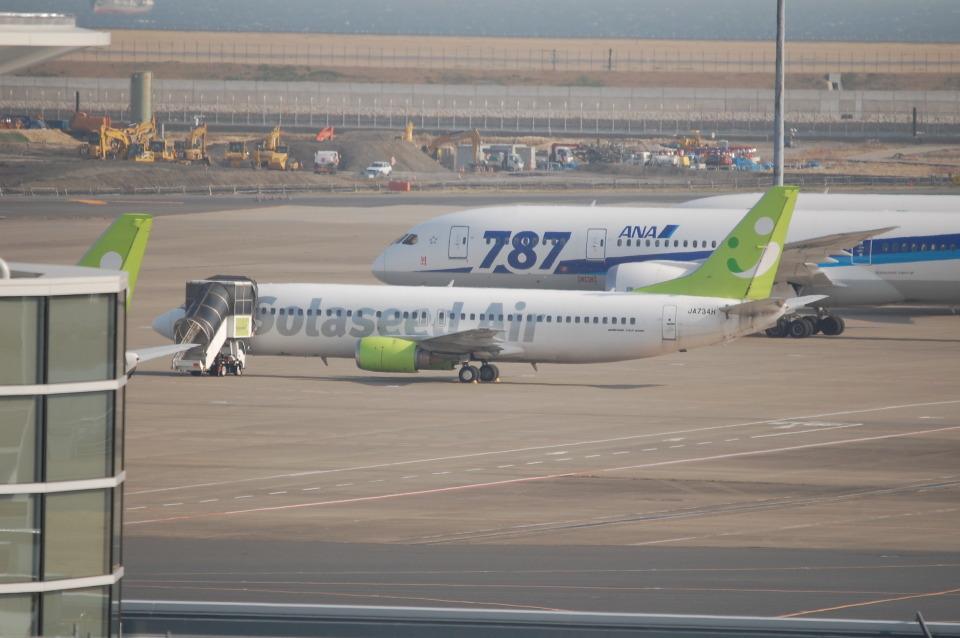 TAGUさんのソラシド エア Boeing 737-400 (JA734H) 航空フォト