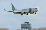 バーバ父さんが、アムステルダム・スキポール国際空港で撮影したトランサヴィア 737-8K2の航空フォト(写真)
