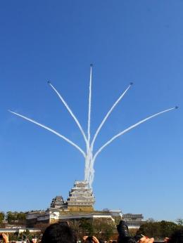 のり巻きさんが、姫路城で撮影した航空自衛隊 T-4の航空フォト(写真)