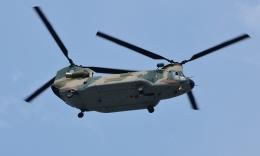 青い翼に鎧武者マークの!さんが、市ヶ谷地区で撮影した航空自衛隊 CH-47J/LRの航空フォト(飛行機 写真・画像)
