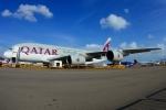 RUSSIANSKIさんが、シンガポール・チャンギ国際空港で撮影したカタール航空 A380-861の航空フォト(飛行機 写真・画像)
