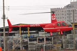 へりさんが、加須はなさき水上公園(場外)で撮影したつくば航空 R44 IIの航空フォト(写真)