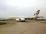 まいけるさんが、ロンドン・ヒースロー空港で撮影したエティハド航空 A380-861の航空フォト(写真)